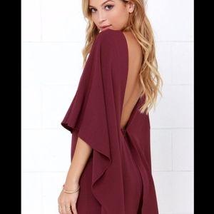 Lulu's backless burgundy dress size XS, worn once.